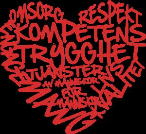 Omsorg, respekt, kompetens, trygghet, engagemang, livskvalitet.